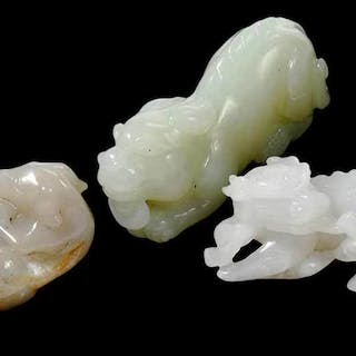 Three Carved Jade Toggles