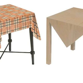 Tablecloth Form Marble and Geometric Side Tables