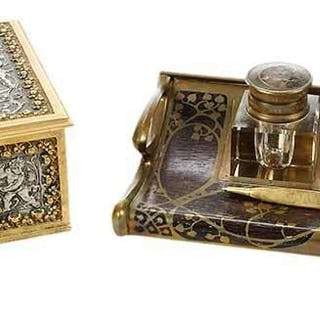 Two Continental Gilt Desk Objects, Inkstand, Box