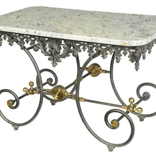 French Victorian Style Granite Top Baker's Table
