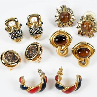 Five Pairs Costume Earrings