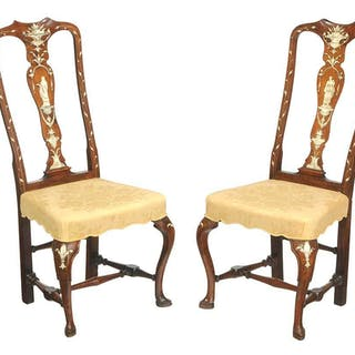 Pair Dutch Queen Anne Ivory Inlaid Side Chairs