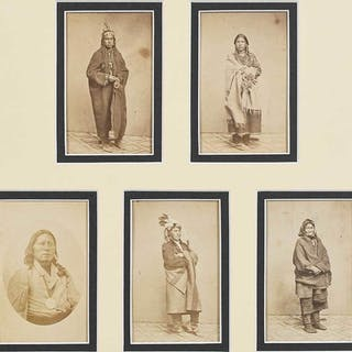 Five Native American Cartes de Visite