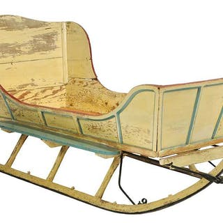 Vintage Paint Decorated Sleigh, Fitted as a Bed