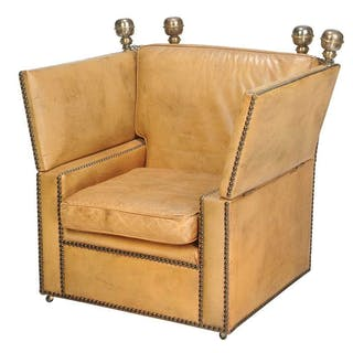 Jacobean Style Leather Upholstered Armchair