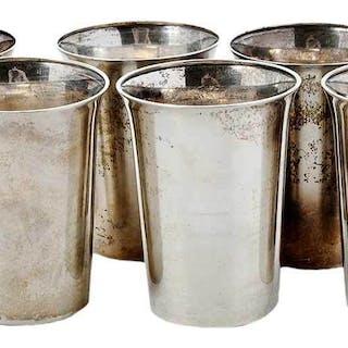 Six Sterling Tumblers
