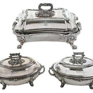 Three Old Sheffield Plate Entree Servers