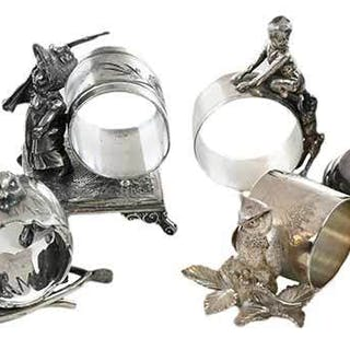 Eight Silver Plate Napkin Rings/Toothpick Holders