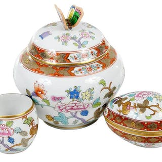 Three Herend Porcelain Chinois Objects