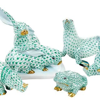 Five Herend Porcelain Green Animal Figurines