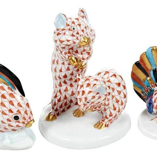 Three Herend Porcelain Animal Figurines