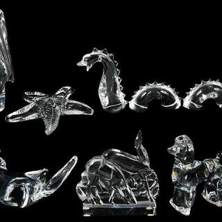Six Baccarat and Steuben Crystal Animal Figures