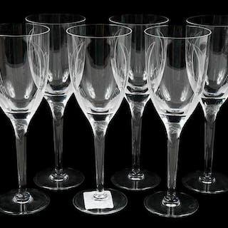 Six Lalique Angel Wing Flute Champagne Glasses