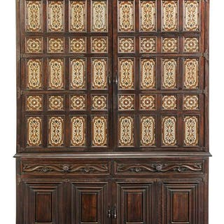 Carved Mahogany and Tile Inset Cabinet