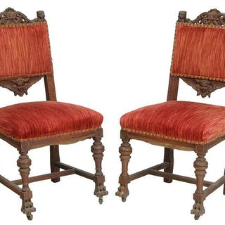 Pair Renaissance Style Carved Oak Side Chairs