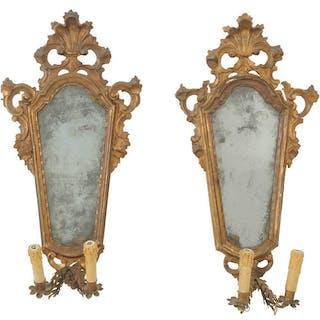 Pair Venetian Baroque Carved Girandoles