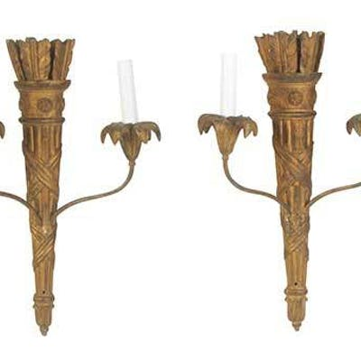 Set Four Carved and Gilt Classical StyleÿSconces