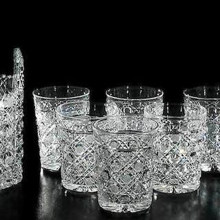 Brilliant Period Cut Glass Water Set