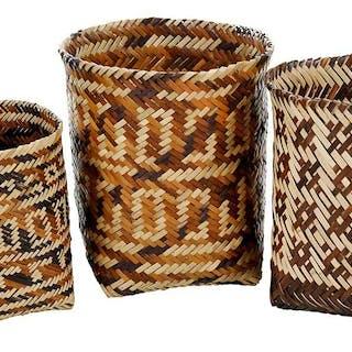 Three Cherokee Double Weave Miniature Baskets
