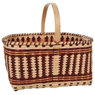 Large Cherokee Oak Split Signed Market Basket