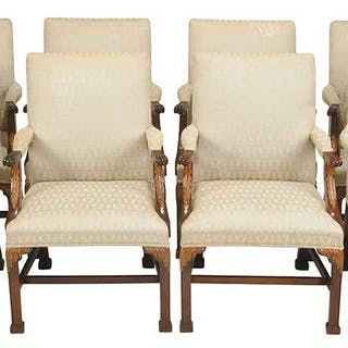 Set Eight Baker Chippendale Style Arm Chairs