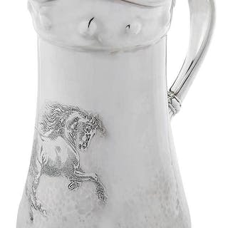 Whiting Sterling Hammered Pitcher, Horse