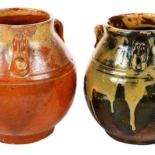 Two Rare Early Jugtown Drip Vases