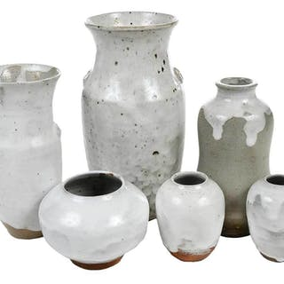 Six Pieces Jugtown Chinese White Pottery