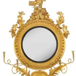 Monumental Carved and Gilt Girandole Mirror