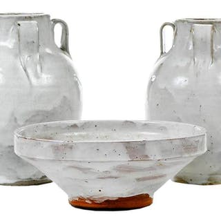 Three Pieces Jugtown Chinese White Pottery