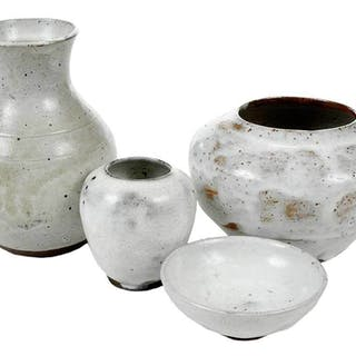Four Pieces Jugtown Chinese White Pottery