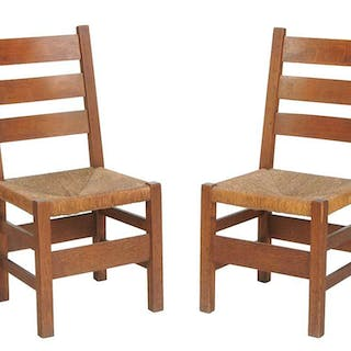Pair Stickley Craftsman Rush Seat Side Chairs