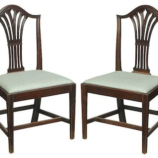 Pair Federal Carved Mahogany Side Chairs