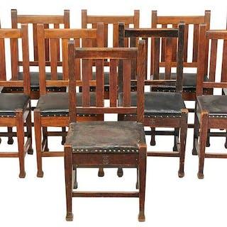 Assembled Set Ten Roycroft Side Chairs