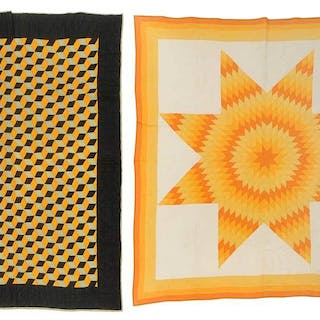 Two Pieced Quilts: Lone Star and Tumbling Blocks