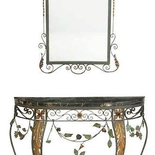 Italian Rococo Style Marble Top Console, Mirror
