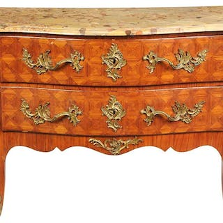 Louis XV Style Parquetry Marble Top Commode