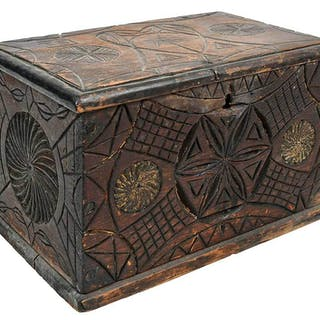 Carved Folk Art Box with Palmetto Tree
