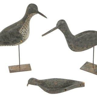 Three Flattie Shore Bird Decoys