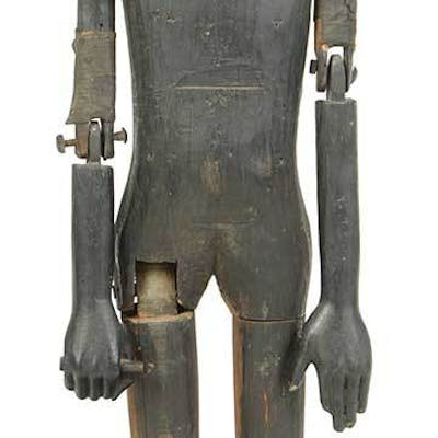 Folk Art Articulated Carved Pine Painted Figure