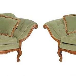 Pair Venetian Rococo Style Carved Walnut Sofas