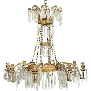 Empire Style Gilt Cut Glass Chandelier