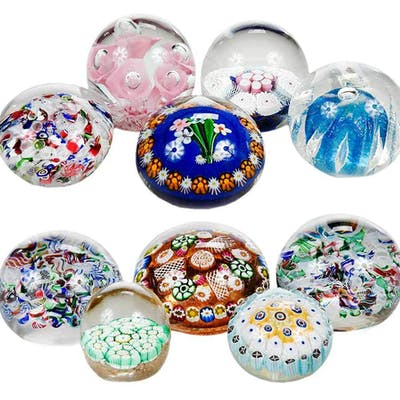 Group of Ten Murano Style Paperweights