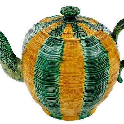 Staffordshire Creamware Whieldon Type Teapot