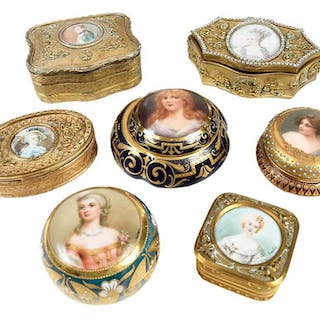 Seven Gilt Jeweled Ring and Pill Boxes