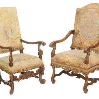 Two Baroque Style Tapestry Upholstered Armchairs