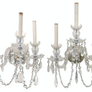 Pair of George III Style Crystal Wall Sconces