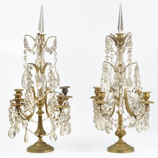 Pair of Brass and Crystal Candelabra