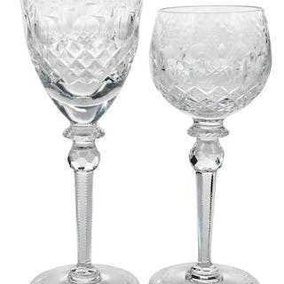 16 Czech Crystal Wine Goblets