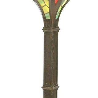Arts and Crafts Hammered Copper, Glass Torchiere
